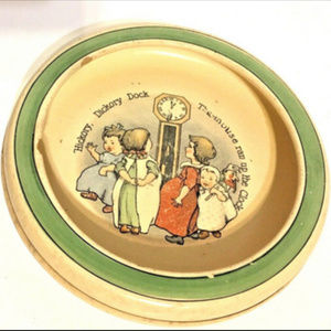 """Hickory Dickory Dock Baby Bowl Dish 6"""" Antique"""